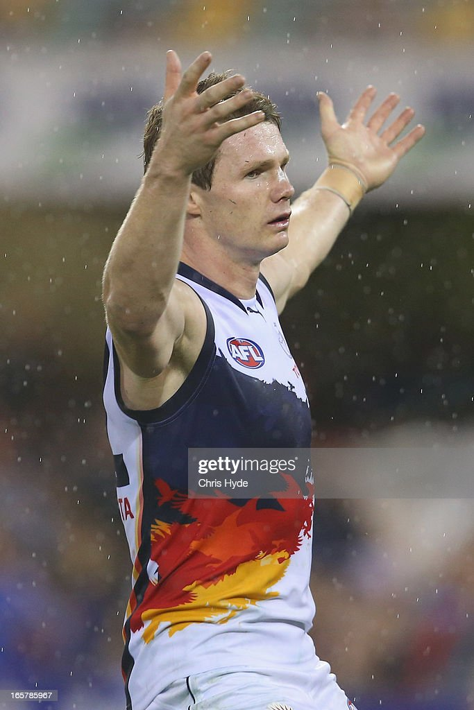 Patrick Dangerfield of the Crows celebrates after kicking a goal during the round two AFL match between the Brisbane Lions and the Adelaide Crows at The Gabba on April 6, 2013 in Brisbane, Australia.