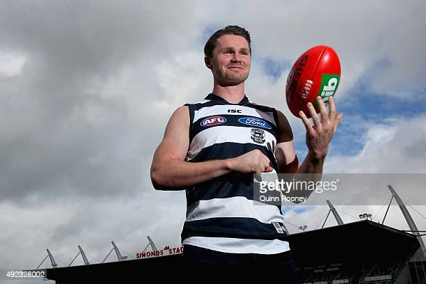 Patrick Dangerfield poses during a Geelong Cats AFL press conference at Simonds Stadium on October 12 2015 in Geelong Australia