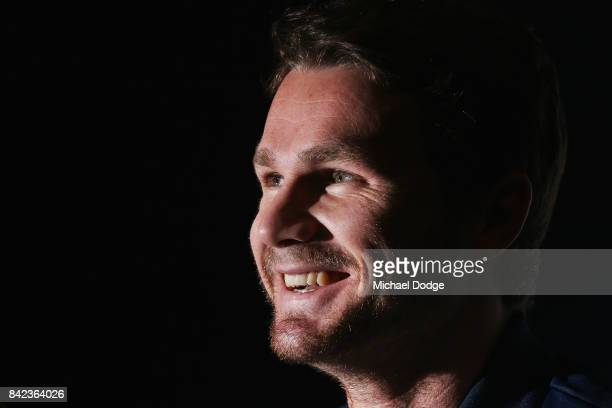 Patrick Dangerfield reacts when speaking to the media during a Geelong Cats AFL press conference at Simonds Stadium on September 4 2017 in Geelong...