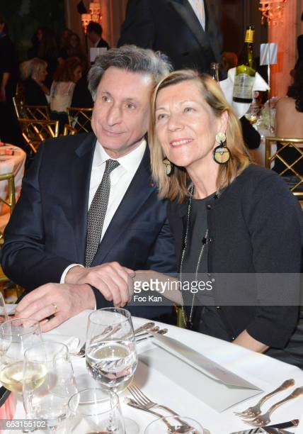 Patrick de Carolis and CarolAnne Hartpence attend 'La Recherche en Physiologie' Charity Gala at Four Seasons Hotel George V on March 13 2017 in Paris...