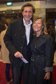 Patrick de Carolis and his wife Ann Carol at Theatre du Grand PointVirgule on October 22 2012 in Paris France