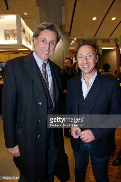 Patrick de Carolis and Stephane Bern attend the Official Visit of Stephane Bern at the 'International Exhibition of Cultural Heritage Salon...