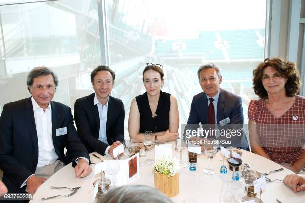 Patrick de Carolis Stephane Bern President of France Television Delphine Ernotte Christophe Beaux and Fabienne ServanSchreiber attend the 'France...