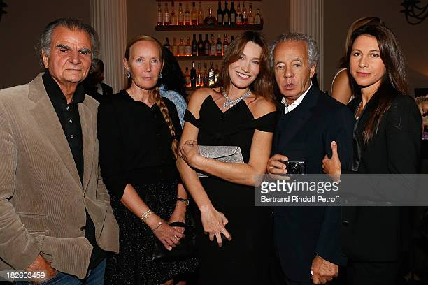 Patrick Demarchelier and his wife Mia Carla Bruni Gilles Bensimon and Delphine Royant attend the Bulgari and Vogue Party at Apicius Restaurant as...