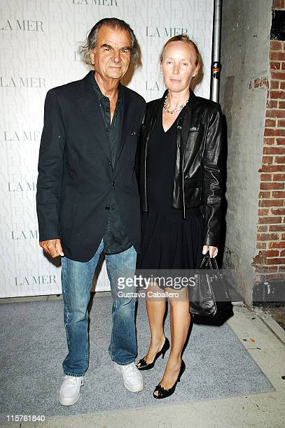 Patrick Demarchelier and Mia Demarchelier attends the La Mer Celebrates 'Liquid Light' By Fabien Baron at The Glass Houses on September 10 2008 in...