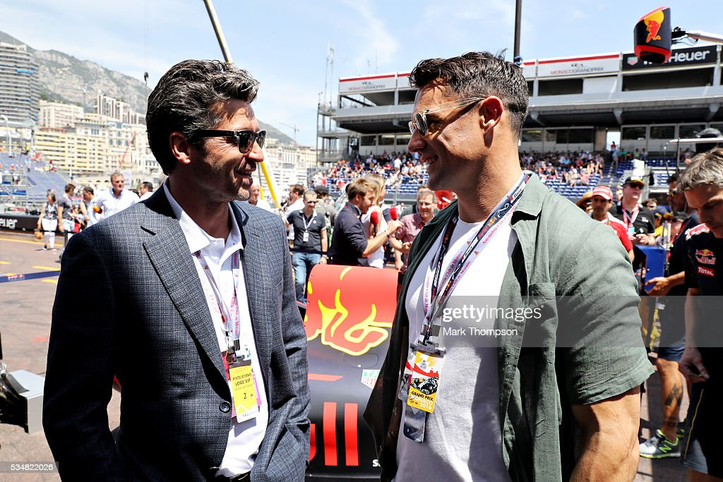 <a gi-track='captionPersonalityLinkClicked' href=/galleries/search?phrase=Patrick+Dempsey&family=editorial&specificpeople=241264 ng-click='$event.stopPropagation()'>Patrick Dempsey</a>, actor, talks with Dan Carter, rugby player, outside the Red Bull Racing garage ahead of qualifying for the Monaco Formula One Grand Prix at Circuit de Monaco on May 28, 2016 in Monte-Carlo, Monaco.