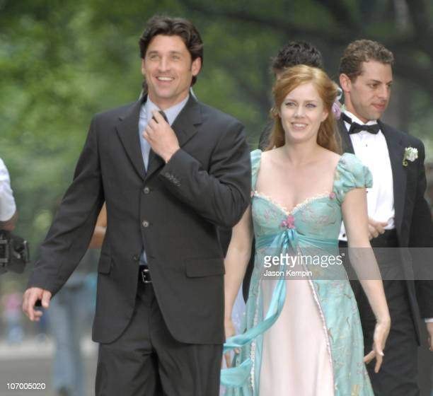 Patrick Dempsey and Amy Adams during Patrick Dempsey Amy Adams and Jeff Watson on the Set of Disney's 'Enchanted' July 10 2006 at Central Park in New...