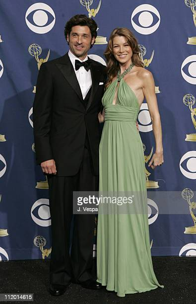Patrick Dempsey and Ellen Pompeo presenters during The 57th Annual Emmy Awards Press Room at Shrine Auditorium in Los Angeles California United States