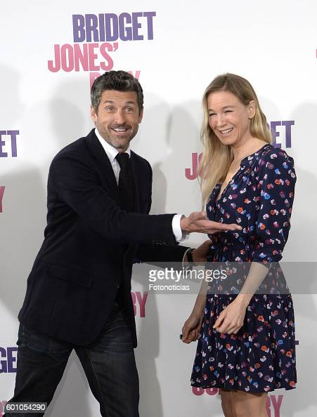 Patrick Dempsey and Renee Zellweger attend a photocall for 'Bridget Jones Baby' at Villamagna Hotel on September 9 2016 in Madrid Spain