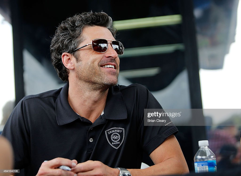 Patrick Dempsey is shown in the paddock before the IMSA Tudor Series GT race at Virginia International Raceway on August 24 2014 in Alton Virginia
