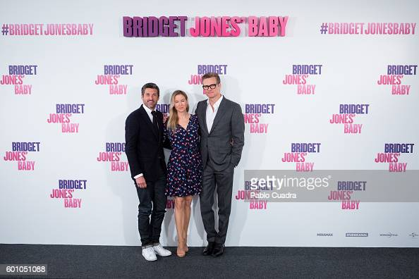 Patrick Dempsey Renee Zellweger and Colin Firth attend the Bridget Jones' Baby photocall at Villamagna Hotel on September 9 2016 in Madrid Spain