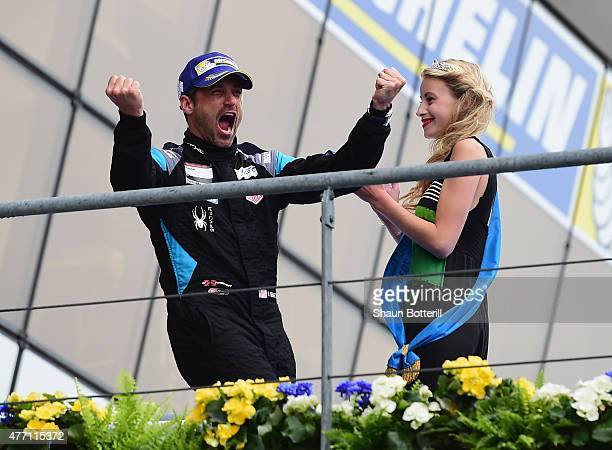 Patrick Demsey of DempseyProton Racing celebrates after 2nd place in LMGTAM the Le Mans 24 Hour race at the Circuit de la Sarthe on June 13 2015 in...