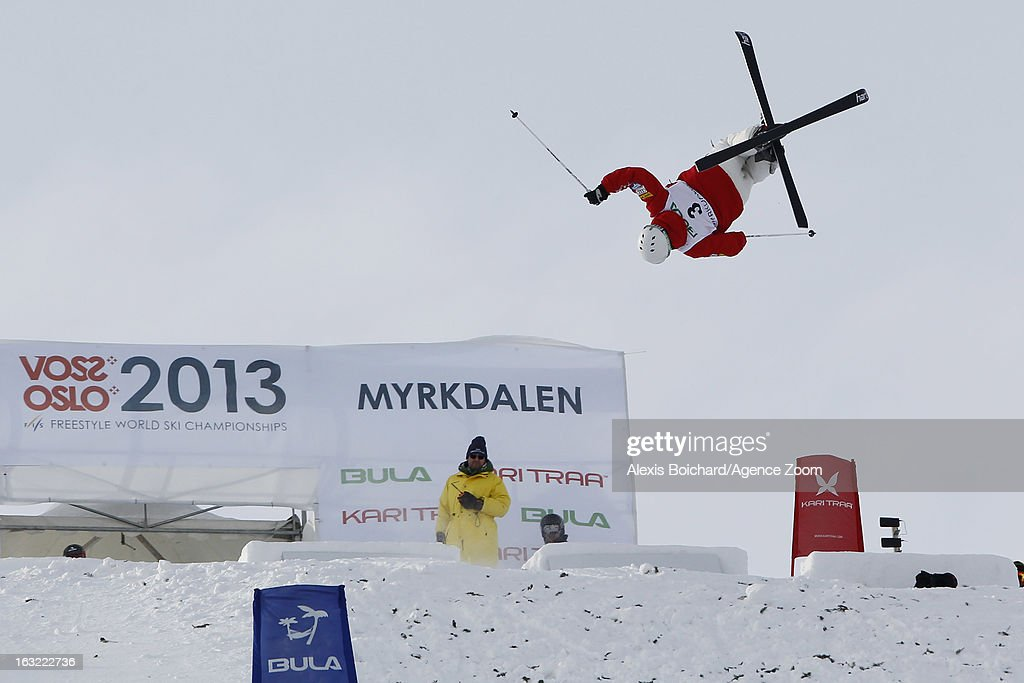 Patrick Deneen of the USA takes 3rd place during the FIS Freestyle Ski World Championship Men's and Women's Moguls on March 06, 2013 in Voss, Norway.