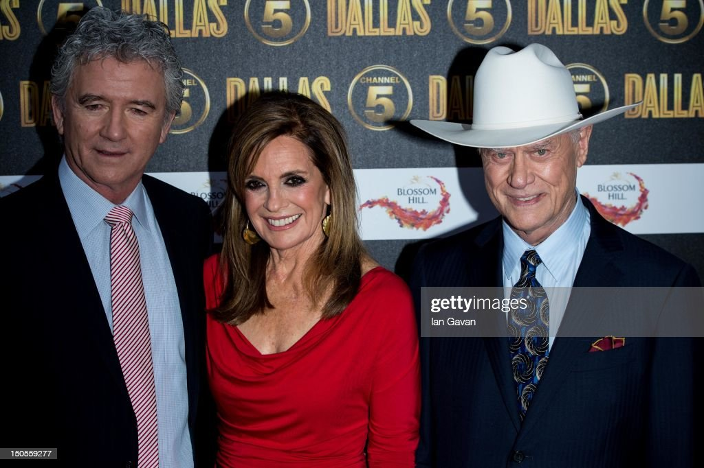 <a gi-track='captionPersonalityLinkClicked' href=/galleries/search?phrase=Patrick+Duffy&family=editorial&specificpeople=224536 ng-click='$event.stopPropagation()'>Patrick Duffy</a>, Linda Grey and <a gi-track='captionPersonalityLinkClicked' href=/galleries/search?phrase=Larry+Hagman&family=editorial&specificpeople=210614 ng-click='$event.stopPropagation()'>Larry Hagman</a> attend the Channel 5 Dallas Launch Party at Old Billingsgate Market on August 21, 2012 in London, England.