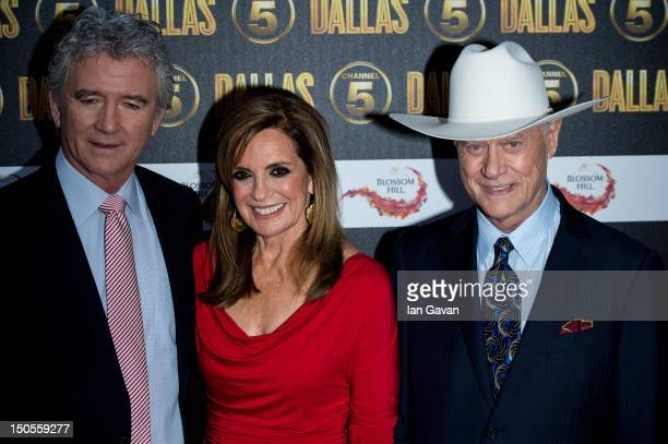 Patrick Duffy Linda Grey and Larry Hagman attend the Channel 5 Dallas Launch Party at Old Billingsgate Market on August 21 2012 in London England