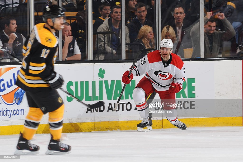 Patrick Dwyer #39 of the Carolina Hurricanes celebrates a goal to tie the game against the Boston Bruins at the TD Garden on November 23, 2013 in Boston, Massachusetts.