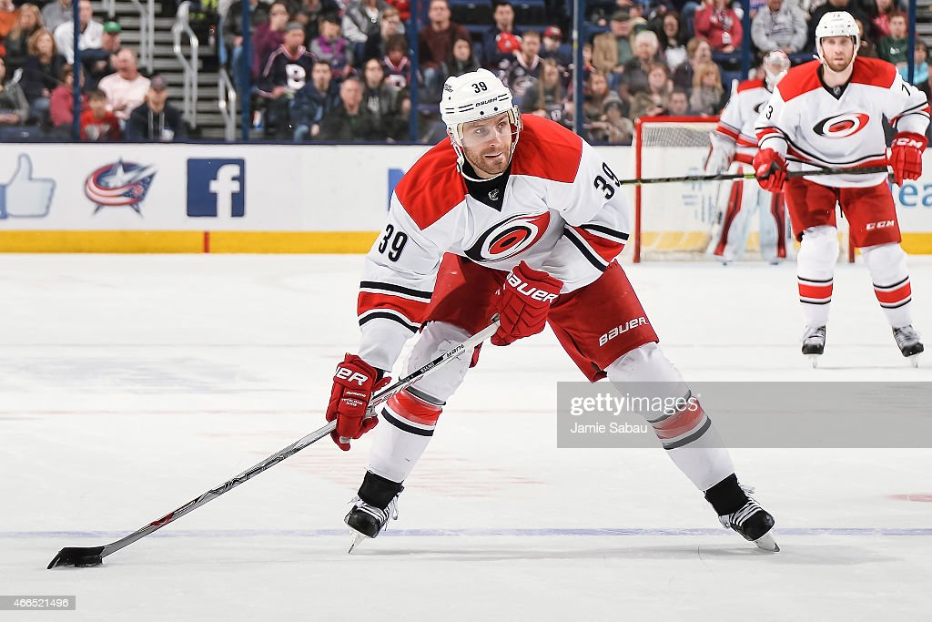 Patrick Dwyer #39 of the Carolina Hurricanes skates against the Columbus Blue Jackets on March 15, 2015 at Nationwide Arena in Columbus, Ohio.