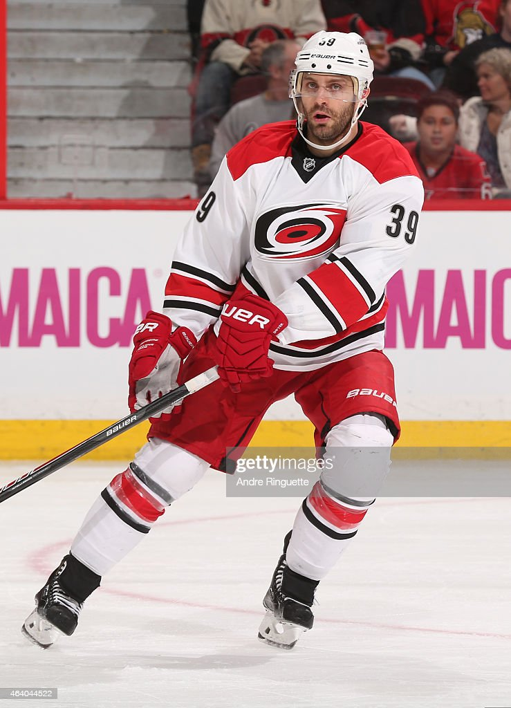 Patrick Dwyer #39 of the Carolina Hurricanes skates against the Ottawa Senators at Canadian Tire Centre on February 16, 2015 in Ottawa, Ontario, Canada.