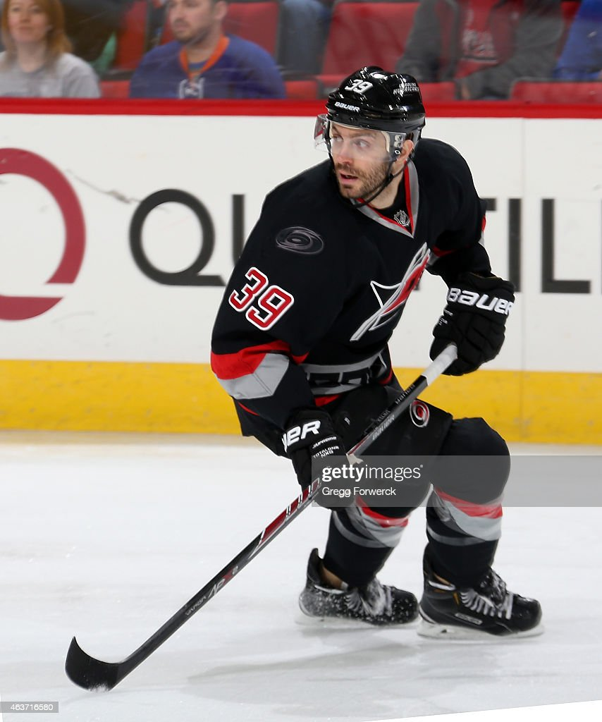 Patrick Dwyer #39 of the Carolina Hurricanes skates for position during an NHL game against the New York Islanders at PNC Arena on Febuary 17, 2015 in Raleigh, North Carolina.