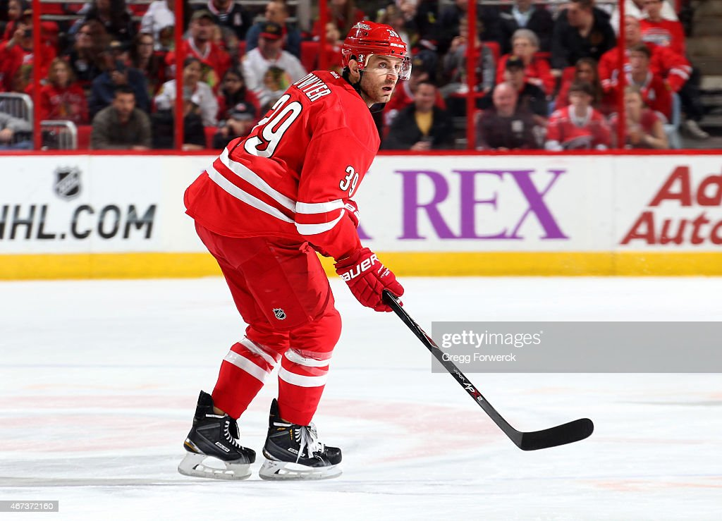Patrick Dwyer #39 of the Carolina Hurricanes skates for position during an NHL game against the Chicago Blackhawks at PNC Arena on March 23, 2015 in Raleigh, North Carolina.