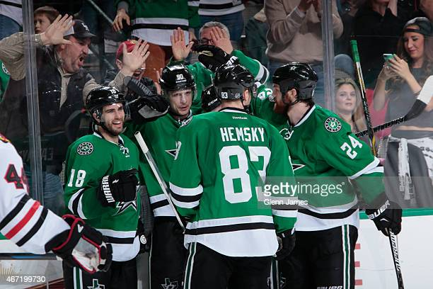 Patrick Eaves Jason Spezza Ales Hemsky and Jordie Benn of the Dallas Stars celebrate a goal against the Chicago Blackhawks at the American Airlines...