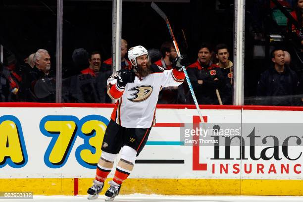 Patrick Eaves of the Anaheim Ducks celebrates a goal against the Calgary Flames during an NHL game on April 2 2017 at the Scotiabank Saddledome in...