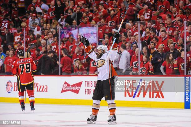 Patrick Eaves of the Anaheim Ducks celebrates after his teammate Ryan Getzlaf scored on an empty net of the Calgary Flames in Game Four of the...