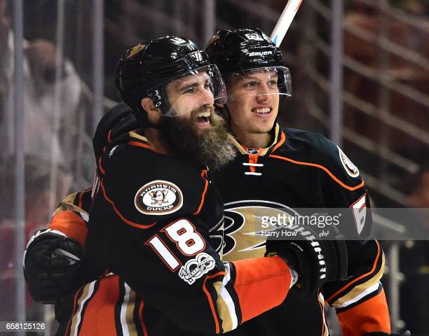 Patrick Eaves of the Anaheim Ducks celebrates his goal with Rickard Rakell his second goal of the game to take a 53 lead over the New York Rangers...