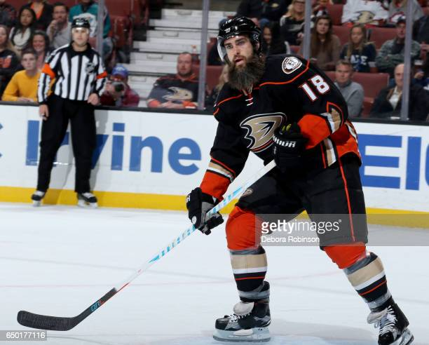 Patrick Eaves of the Anaheim Ducks skates during the game against the Toronto Maple Leafs on March 3 2017 at Honda Center in Anaheim California