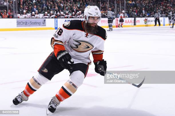 Patrick Eaves of the Anaheim Ducks skates on ice during a game against the Los Angeles Kings at STAPLES Center on February 25 2017 in Los Angeles...