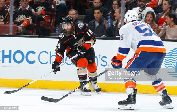 Patrick Eaves of the Anaheim Ducks skates with the puck against Johnny Boychuk of the New York Islanders during the game on October 11 2017 at Honda...