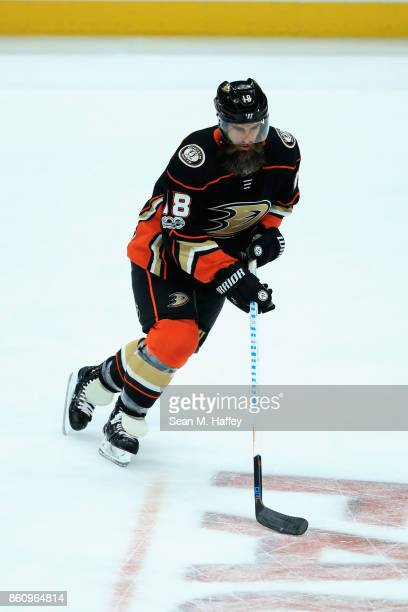 Patrick Eaves of the Anaheim Ducks skates with the puck during warm ups prior to a game against the New York Islanders at Honda Center on October 11...