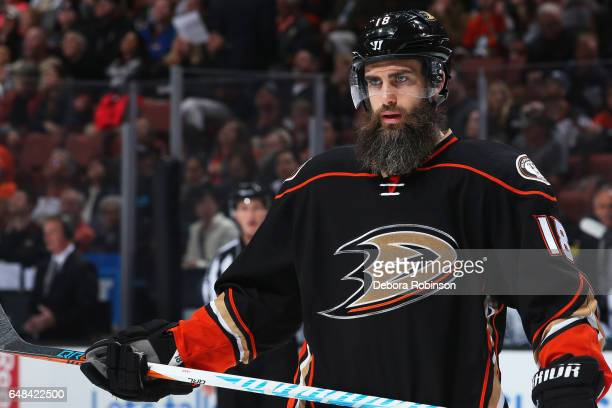 Patrick Eaves of the Anaheim Ducks waits for a faceoff during the game against the Vancouver Canucks on March 4 2017 at Honda Center in Anaheim...