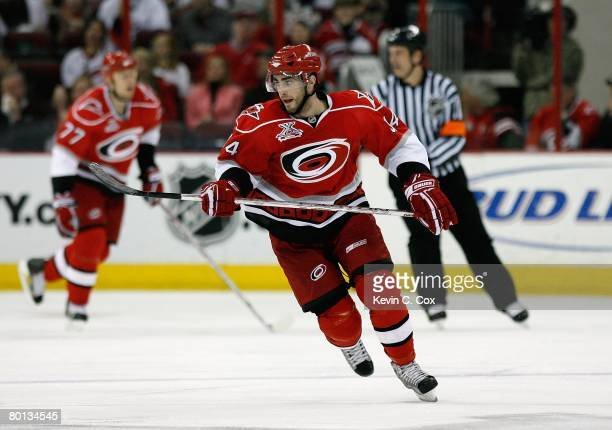 Patrick Eaves of the Carolina Hurricanes skates against the Tampa Bay Lightning during their NHL game at RBC Center on March 1 2008 in Raleigh North...