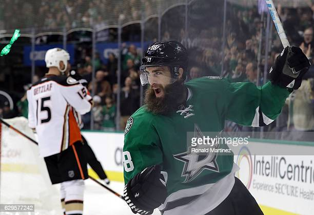 Patrick Eaves of the Dallas Stars celebrates a goal against the Anaheim Ducks in the third period at American Airlines Center on December 13 2016 in...