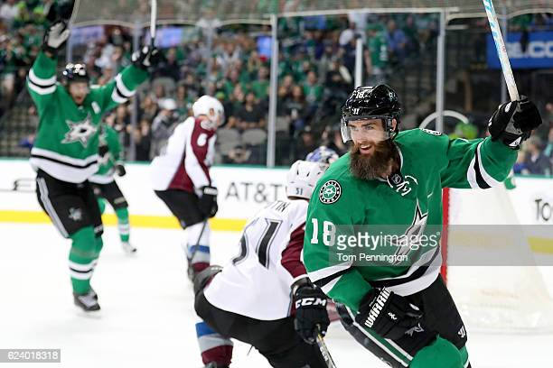 Patrick Eaves of the Dallas Stars celebrates after scoring a goal against Semyon Varlamov of the Colorado Avalanche in the first period at American...
