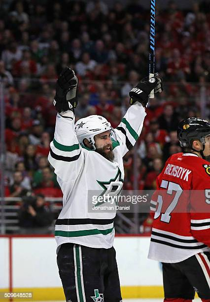 Patrick Eaves of the Dallas Stars celebrates his first goal of the game in the first period against the Chicago Blackhawks at the United Center on...