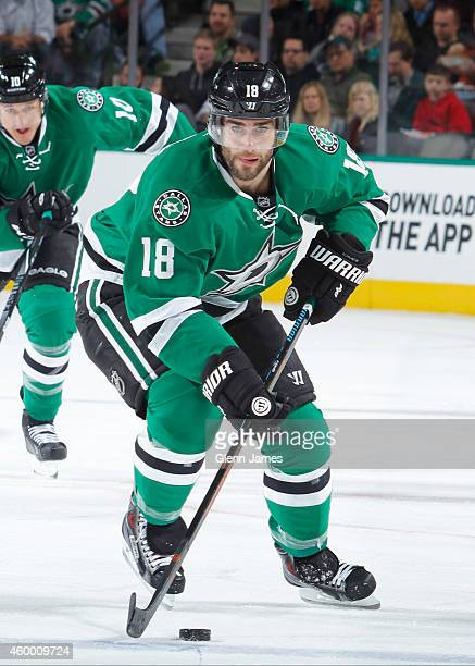 Patrick Eaves of the Dallas Stars handles the puck against the Edmonton Oilers at the American Airlines Center on November 25 2014 in Dallas Texas