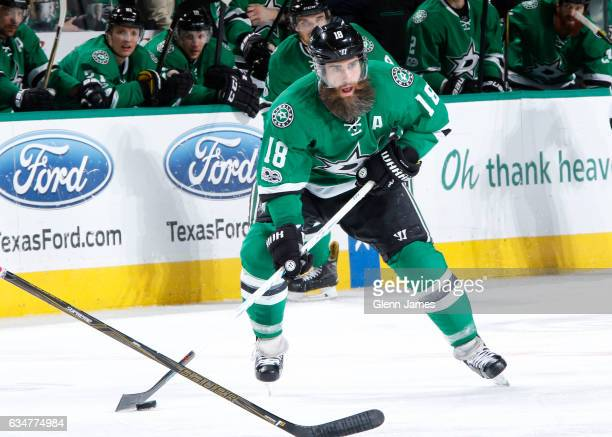 Patrick Eaves of the Dallas Stars handles the puck against the Carolina Hurricanes at the American Airlines Center on February 11 2017 in Dallas Texas