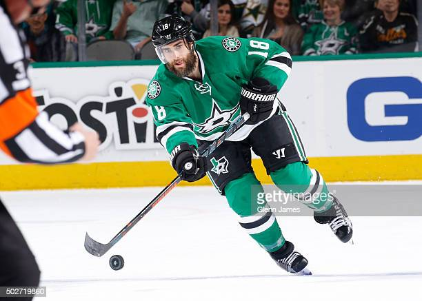 Patrick Eaves of the Dallas Stars handles the puck against the Columbus Blue Jackets at the American Airlines Center on December 15 2015 in Dallas...
