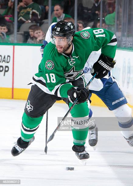 Patrick Eaves of the Dallas Stars handles the puck against the Tampa Bay Lightning at the American Airlines Center on February 5 2015 in Dallas Texas