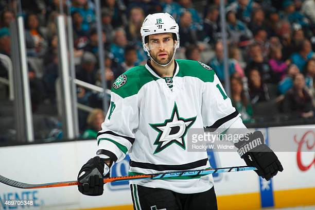 Patrick Eaves of the Dallas Stars looks on during the game against the San Jose Sharks at SAP Center on April 6 2015 in San Jose California