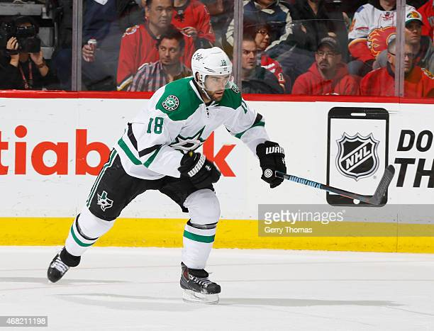 Patrick Eaves of the Dallas Stars skates against the Calgary Flames at Scotiabank Saddledome on March 25 2015 in Calgary Alberta Canada