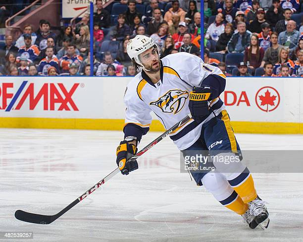Patrick Eaves of the Nashville Predators in action against the Edmonton Oilers during an NHL game at Rexall Place on March 18 2014 in Edmonton...