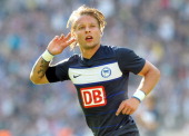 Patrick Ebert of Berlin jubilates after scoring the first goal during the preseason friendly match between Hertha BSC Berlin and Real Madrid at...