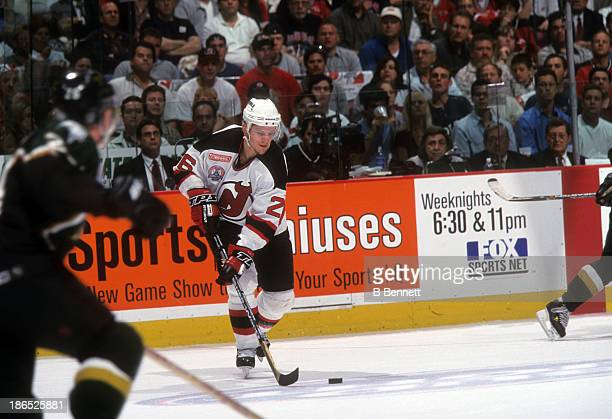 Patrick Elias of the New Jersey Devils skates with the puck during Game 2 of the 2000 Stanley Cup Finals against the Dallas Stars on June 1 2000 at...