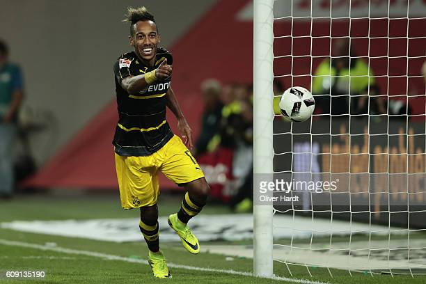 Patrick Emerick Aubameyang of Dortmund celebrates his goal during the Bundesliga match between VfL Wolfsburg and Borussia Dortmund at Volkswagen...
