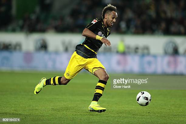 Patrick Emerick Aubameyang of Dortmund in action during the Bundesliga match between VfL Wolfsburg and Borussia Dortmund at Volkswagen Arena on...
