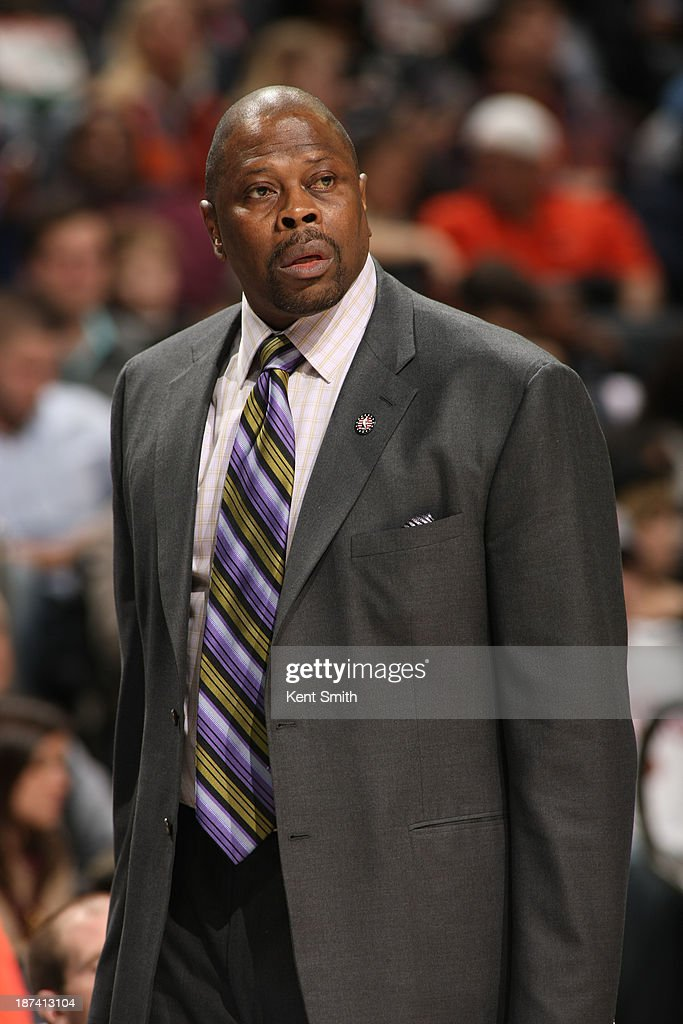Patrick Ewing, acting Head Coach of the Charlotte Bobcats looks on during the game against the New York Knicks at the Time Warner Cable Arena on November 8, 2013 in Charlotte, North Carolina.