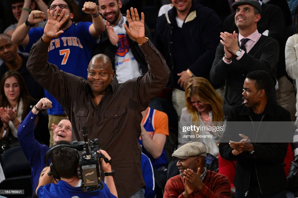 <a gi-track='captionPersonalityLinkClicked' href=/galleries/search?phrase=Patrick+Ewing&family=editorial&specificpeople=202881 ng-click='$event.stopPropagation()'>Patrick Ewing</a> and <a gi-track='captionPersonalityLinkClicked' href=/galleries/search?phrase=Chris+Rock&family=editorial&specificpeople=202982 ng-click='$event.stopPropagation()'>Chris Rock</a> attend the Memphis Grizzlies vs New York Knicks game at Madison Square Garden on March 27, 2013 in New York City.